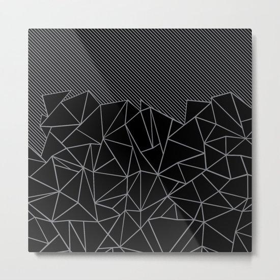 Ab Lines 45 Grey and Black Metal Print