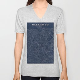 Map Of Dallas 1884 Unisex V-Neck