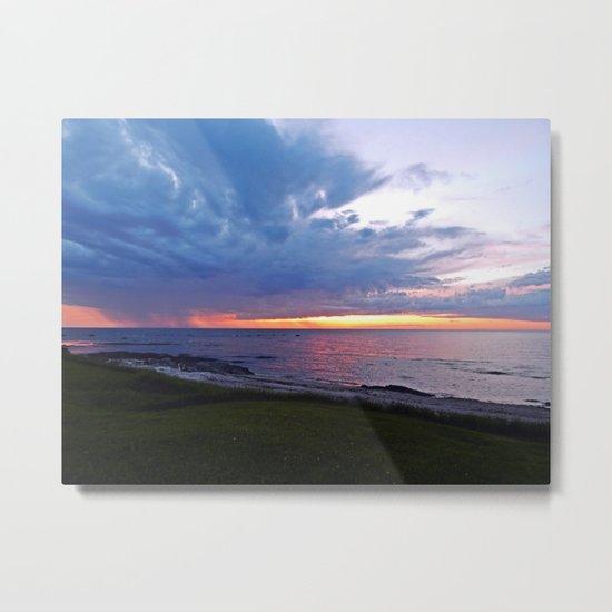 Sunset at Sea and the Rain Storm Metal Print