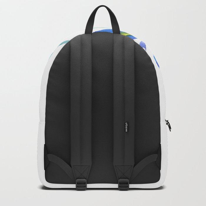 blue iris watercolor Backpack