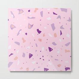 Millennial Pink - Bubblegum Lilac Terrazzo - Abstract Granite Marble Geometric Texture Metal Print