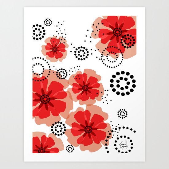 PEPPER POPPIES | red Art Print