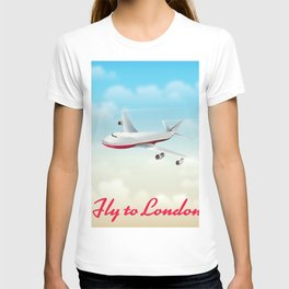 Fly to London vintage travel poster T-shirt