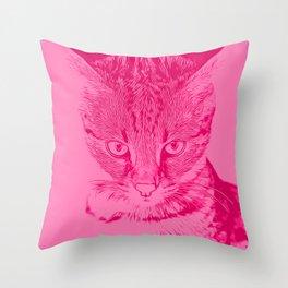 savannah cat portrait vapp Throw Pillow