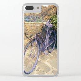 Vintage  bicycle with wicker basket at the street. Clear iPhone Case