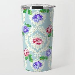 Shabby Chic Rose Pattern Travel Mug