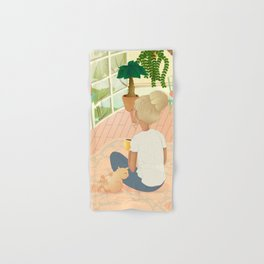 girl with cat relaxing at home looking out the window Hand & Bath Towel