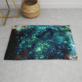 Dark Teal Glitter Galaxy Stars Rug
