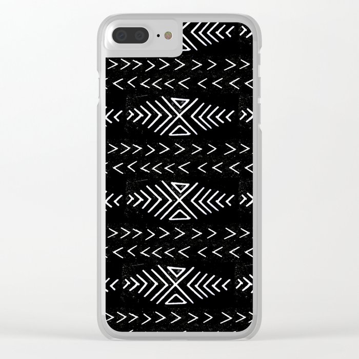 mudcloth 4 minimal textured black and white pattern home decor minimalist Clear iPhone Case