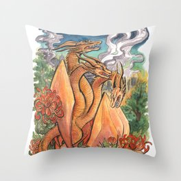 Three Headed Chrysanthemum Dragon Throw Pillow