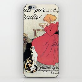 Vintage Art nouveau French milk advertising, cats, girl iPhone Skin