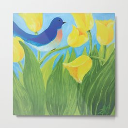 Blue Bird with Yellow Tulips by Sandy Thomson  Metal Print