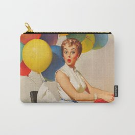 Vintage Pin Up Girl and Colorful Balloons Carry-All Pouch