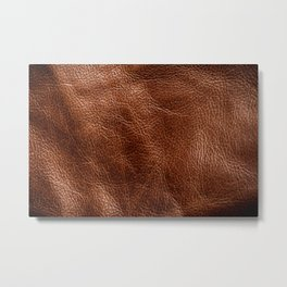 Vintage Dark Brown Leather Texure. Fine Leather Crafting, Handcrafts Work Space, Handmade Leather handcrafted, leather worker. Metal Print