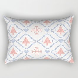 Christmas Tree Embroidery Stitches Seamless Vector. Hand Drawn Cross Rectangular Pillow