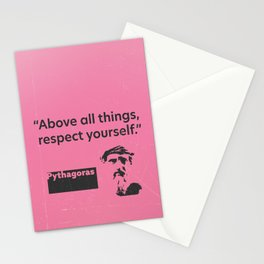 Above all things, respect yourself. Pythagoras Stationery Cards