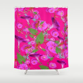 Very Fuchsia Pink & Purple Morning Glories Colored Pattern Shower Curtain