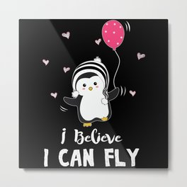 Penguins Can Fly Metal Print