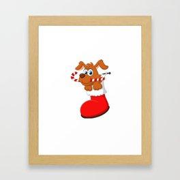 Cartoon dog christmas shirt Framed Art Print