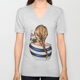 Brunette Braid Hairstyle Girl with Pug Dog Drawing Unisex V-Neck
