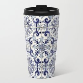 Portuguese tiles pattern blue Travel Mug