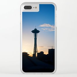 Sunrise in Seattle featuring the Iconic Space Needle silhouette Clear iPhone Case