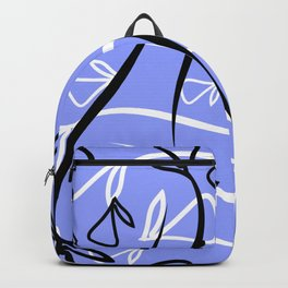 Geometric pattern made from plant black and white elements on a lead background. Backpack
