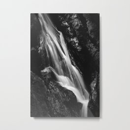 Black and white waterfall in Hell Gorge, Slovenia Metal Print