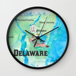 USA Delaware State Travel Poster Map with Touristic Highlights Wall Clock