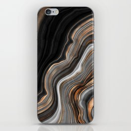 Elegant black marble with gold and copper veins iPhone Skin