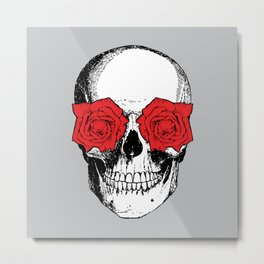 Skull and Roses | Grey and Red Metal Print