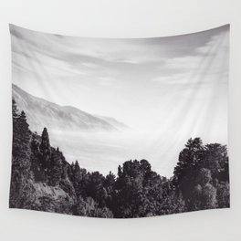 Beautiful ocean view with forest front view at Big Sur, California, USA in black and white Wall Tapestry