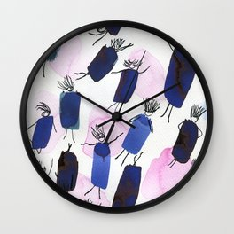 Free falling of the girls in the bright blue garments Wall Clock