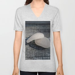 Two White Sea Glass Pieces on Grey Wood Unisex V-Neck