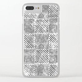 White and Black Distressed Diagonal Lines Pattern Vintage Unique Artistic Style Design Clear iPhone Case
