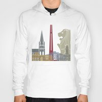 singapore Hoodies featuring Singapore skyline poster by Paulrommer