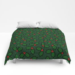 Holly Leaves and Berries Pattern in Dark Green Comforters