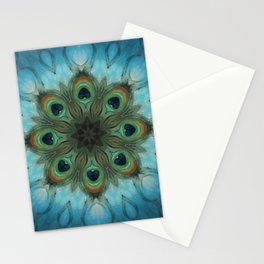 Infinite Waters // Peacock Feather Visionary Art Blue Green Abstract Mandala Sacred Geometry Stationery Cards