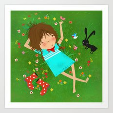 Emma lying in grass Art Print