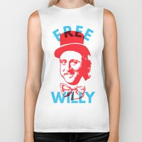 willy wonka Biker Tanks featuring Free Willy (Wonka) by Tabner's