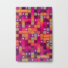 Abstract Colorful Decorative Squares Pattern Metal Print
