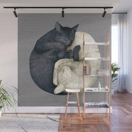 yin-yang cats mid Wall Mural