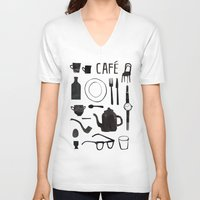 cafe V-neck T-shirts featuring Cafe by The Printed Peanut