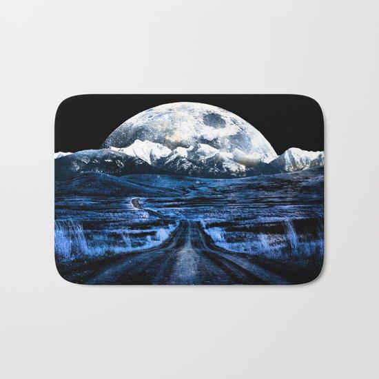 Road to Eternity (blue vintage moon mountain) Bath Mat