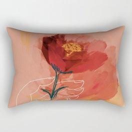 Hand Holding Flower Rectangular Pillow