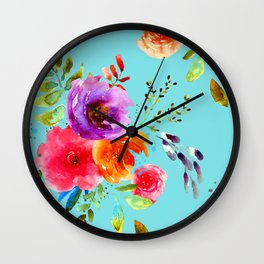 Bright Watercolor Flowers on Blue |Cyan Neon Floral | Renee Davis Wall Clock