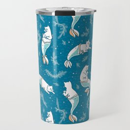 Aqua Blue Magical Cat Mermaid Swimming Pattern Travel Mug