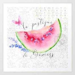 La Pastèque de Béziers—Watermelon and Lavender, Provence Art Print