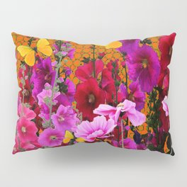 BUTTERFLIES IN PURPLE-PINK  FLOWERS GARDEN Pillow Sham