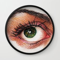 Eyes girl are looking something Wall Clock